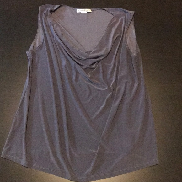 Gray Polyester Blend Cowl Neck Stretch Tank Top